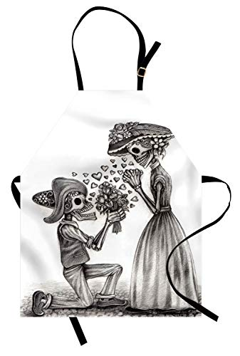 Ambesonne Day of The Dead Apron, Mariage Proposal Till Life Do us Apart Dead Day Festive Art Print, Unisex Kitchen Bib Apron with Adjustable Neck for Cooking Baking Gardening, Dimgrey White