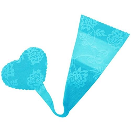 C Style Invisible No Panty Line Heart Shaped Strapless Thong (M/L, Blue/Lace)