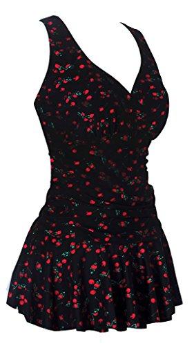 Women's Plus-Size Flower Printing Shaping Body One Piece Swim Dresses Swimsuit Black Cherry
