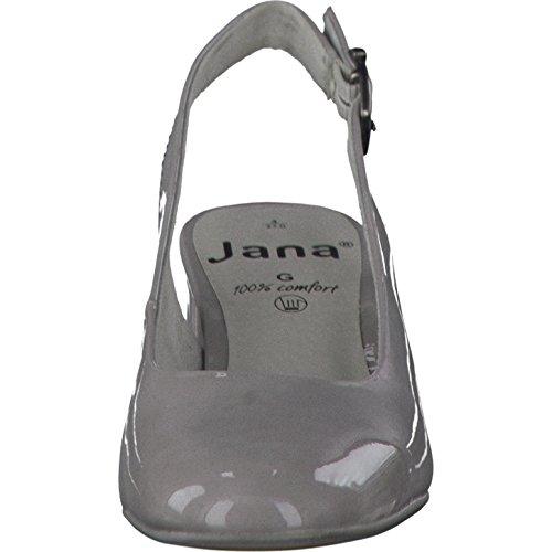 JANA Damen Sling WEITE G grey LACK Blockabsatz lt. grey patent