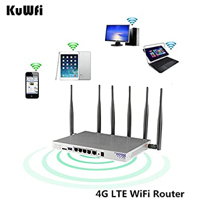 KuWFi 4G LTE 802.11AC 1200Mbps Dual band 2.4GHz 5.0GHz Wireless WiFi Router MT7621A chipset Gigabit port OpenWrt Wireless Router with sim card slot with 6X 5dbi asntenna