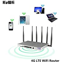 KuWFi 4G LTE 802.11AC 1200Mbps Dual band 2.4-5.0GHz Wireless WiFi Router MT7621A chipset Gigabit port OpenWrt Wireless Router with sim card slot with 6 X 5dbi asntenna (US Version) for USA/Canada/MX
