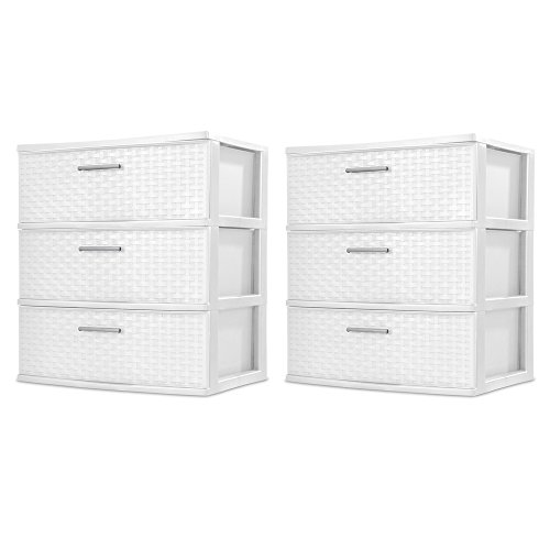 Sterilite 3 Drawers Wide Weave Tower Plastic Storage Organization- White (White) (Wide Drawer), 2-Pack (Weave Plastic)