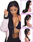 Younsolo Glueless Straight Lace Front Wigs Brazilian Remy Human Hair Straight Wigs with Baby Hair for Black Women Natural Color 18 inch Lace Front Wig