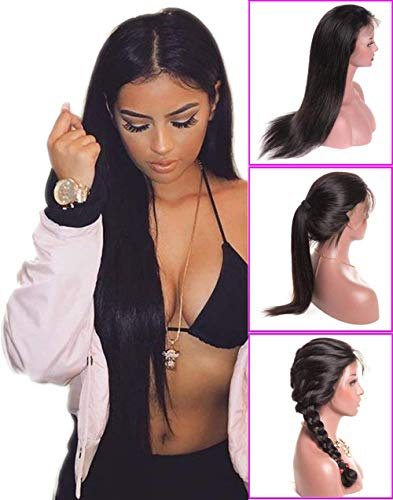 Younsolo Straight Lace Front Wigs 18 inch Unprocessed Brazilian Virgin Human Hair Wig Pre Plucked Natural with Baby Hair Wig for Black Women (Straight Full Wig Lace)