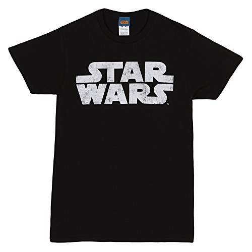 Star Wars Simplest Logo Adult T-Shirt - White on Black (Large)