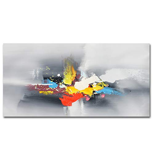 Muzagroo Art Original Abstact Oil Painting Canvas Art Wall Decor for Livingroom Ready to Hang (Grey, 20x40in) ()
