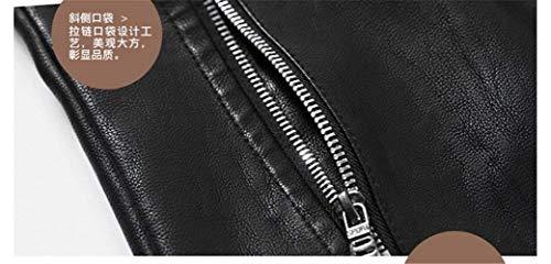 Warm Hombres Collar Manga De De Piel Soporte La Motorista Único Fit Chaqueta Washed Chaqueta De Slim del De La Los De Vendimia Cuero La De del Sintética Braun Larga Los Cuero De Hombres De De ZXS1q