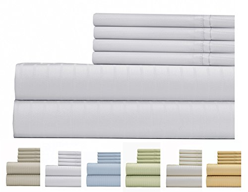 (Weavely Sheet Set - 700 Thread Count Cotton-Poly Blend Bed Sheet, Pin Stripe 6 Piece Bedding Set, Hotel Quality Sheet Set with 2 Extra Pillow Cases, 15 inch Elastic Deep Pocket Fitted Sheet-King-White)