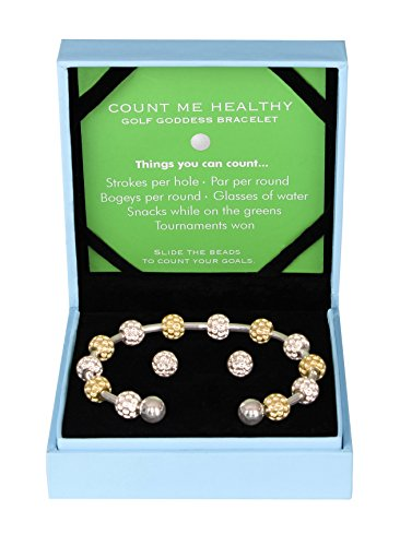 Counter Bracelet and Earrings Gift Set - Two Tone Golf Ball Bead (Tone Golf Ball)