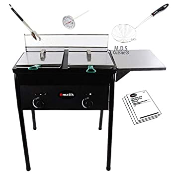 Image of Ematik Deep Fryer Dual Wire Basket Two Double Stainless Steel 20 Qt Capacity Propane Gas Outdoor Fryer Home and Kitchen