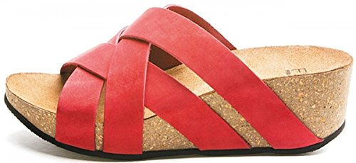 FRAU - Sandalias de vestir de cuero nobuck para mujer Rojo rojo 36 Ciliegia Nabuk