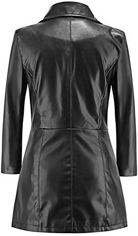 HQEFC Womens Casual Revers Lange Lederjacke Anzug Mantel Windbreaker Trenchcoat Jacken