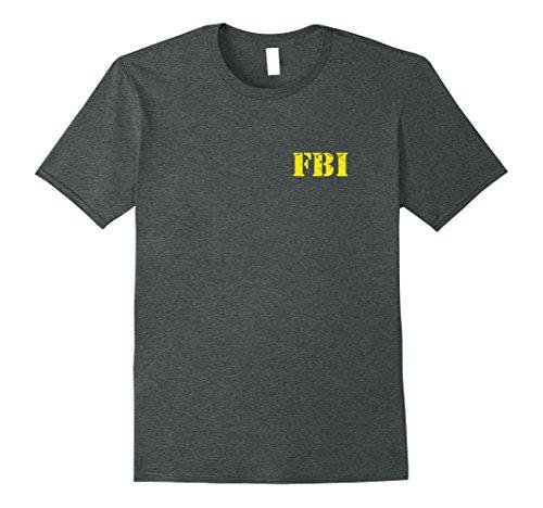 Double Agent Costume (Mens FBI Agent Funny Halloween Costume FBI Tee Shirt yellow Small Dark Heather)