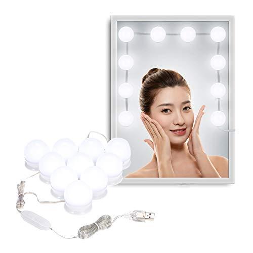Galapara 10 stuks make-uptafelverlichting, spiegelverlichting, Hollywood-stijl, led-spiegellamp, dimbaar, voor make…