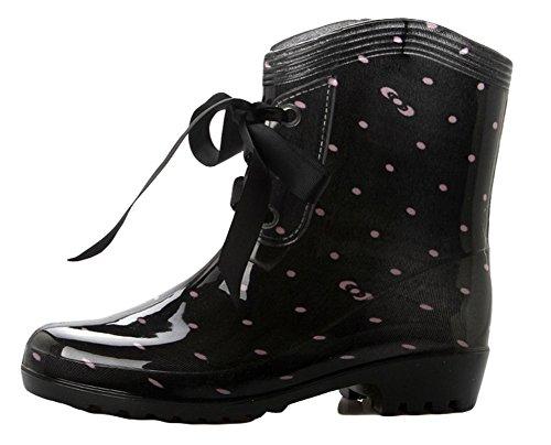 Mid Rain Bowknot Boots Women's King Dot Lace Ma Waterproof up calf 8OwPYSq