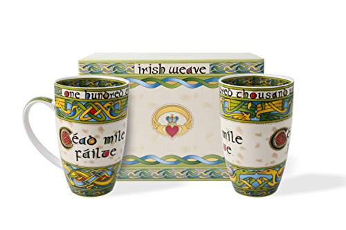 (Irish Cead Mile Failte Mug Set of Two with Matching Gift Box)