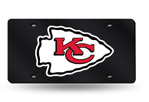 Rico Kansas City Chiefs Black Laser Cut License Plate