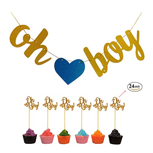 Oh Boy Banner(1) And Oh Boy Cupcake toppers f(24) or Baby Shower Birthday Gender Reveal Party Decorations