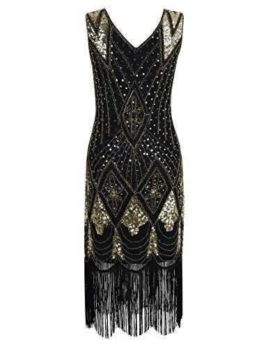 High end 1920s Flapper Dress Great Gatsby Party Evening Sequins Fringed Dresses Gown,A -