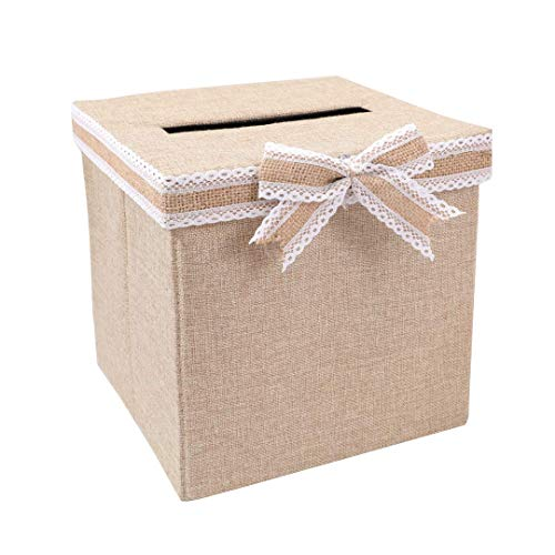 FLUYTCO Rustic Wedding Card Envelope Box - Thick Linen Fabric & Removable Ribbon Bow - Collapsible - Perfect for Weddings, Baby Showers, Birthdays, Graduations - Large Size, 100+ Cards