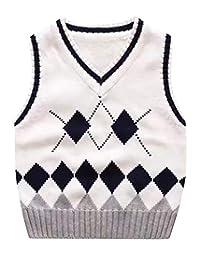 Happy Cherry Sweater Vest School V-Neck Uniform Cotton Knit Pullover Boy Girl