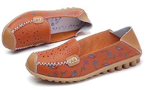 Fangsto Mocassins À Fleurs En Cuir Pour Femme Chaussures Plates Slip-ons Sty-2 Orange