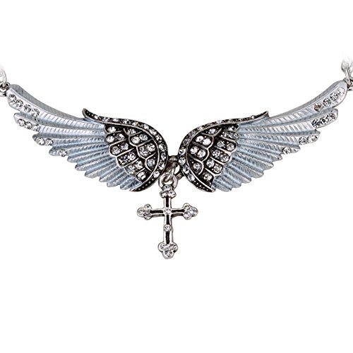 Szxc Jewelry Women's Crystal Angel Wings Cross Choker Necklaces (Crystal Cross Choker Necklace)