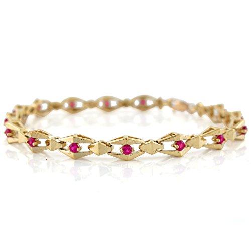 Jewelry Liquidation 14k Yellow Gold Ladies Real Ruby Elegant Contemporary Geometric Bracelet