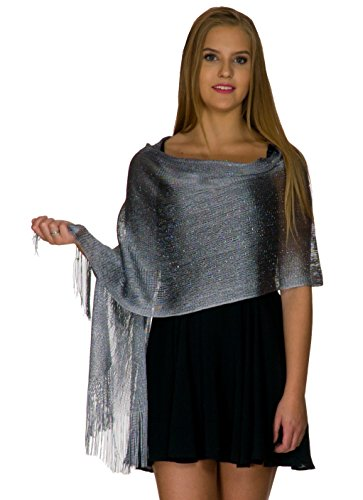 (Shawls and Wraps for Evening Dresses, Wedding Shawl Wrap Fringes Scarf for Women Metallic Grey Silver)
