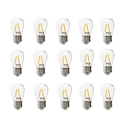 Ceshiney LED S14 2 Watt Dimmable Bulb - 2 Watts - Use to Replace High-Heat, High-Cost incandescent bulbs in Outdoor String Lights - Edison-inspired Exposed Filaments Design?Pack of 15?