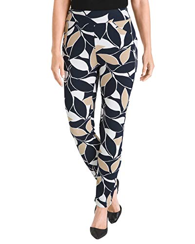 Chico's Women's Travelers Collection Printed Crepe Ankle Pants Size 8 M (1 REG) Blue