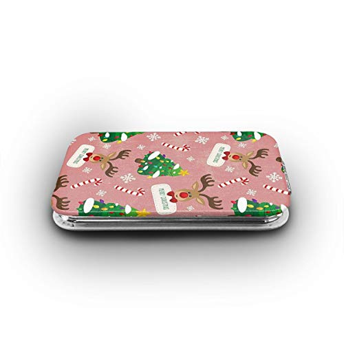 Cookfun Merry Christmas Reindeer Makeup Mirror Mini Pocket Mirror (Rectangle)