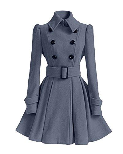 Abrigo Chaqueta Slim Doble Gris Coat Vintage Elegante Trench Mujer Pecho DianShao Outwear Larga YE6WAw01nq