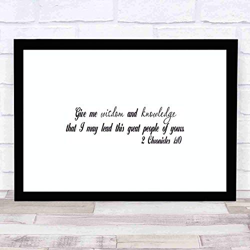cupGTR :) Bible Wall Art-Perfect Christian Gift - with Frame - Size18x12in -Chronicles 110 Give Me Wisdom Knowledge Lead Your Great People