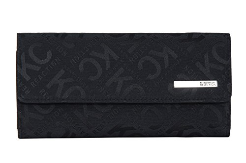Kenneth Cole Reaction Womens Saffiano Clutch Wallet Trifold W Coin Purse (BLACK BOX LOGO)