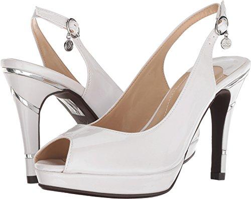 J.Renee Womens Onille Pearl White 10 W (J Renee Peep Toe Heels)