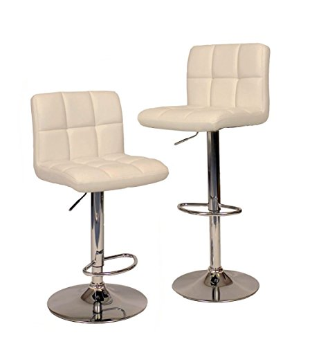 TimmyHouse 2 White Modern Bar Stool Hydraulic Chair Counter Adjustable Swivel PU Leather (Asda Rattan Bench)