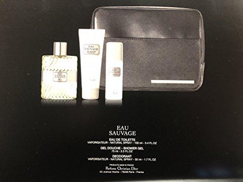 EAU SAUVAGE By Dior for men gift set 4 pieces set : 3.4oz EDT, 2.5oz Shower gel, Deodorant 1.7oz. , 1 Black - Dior Bag Men