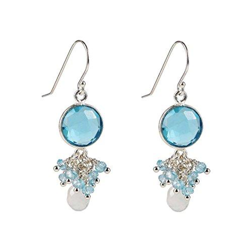 Sterling Silver Aquamarine Earrings w/ Moonstone Briolette and Blue Quartz Clusters (Quartz Briolette Blue Earrings)