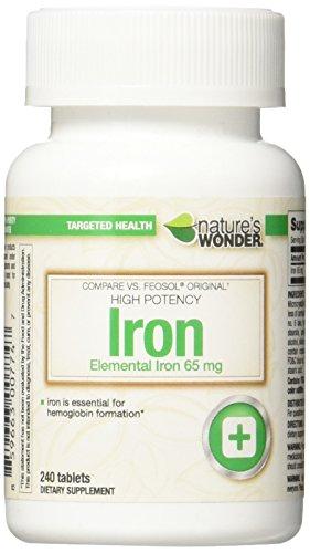 Nature's Wonder Iron (Ferrous Sulfate) 65mg Supplement, 2...