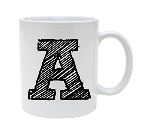 Ceramic Alphabet Letter Handwritten Letter A 11oz Coffee Mug -