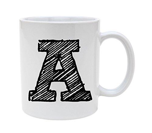 Ceramic Alphabet Letter Handwritten Letter A 11oz Coffee Mug Cup