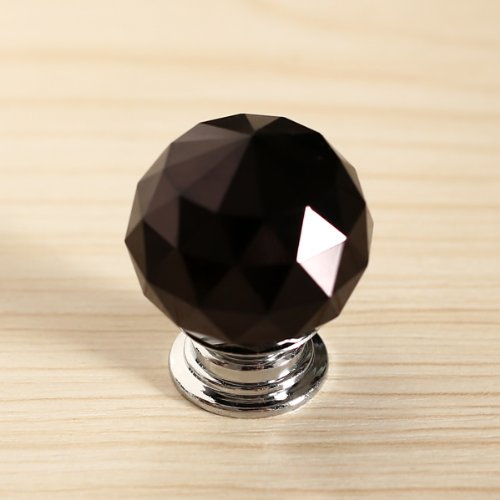 Revesun 40mm Black Crystal Glass Door Knob Cabinet Cupboard Pull Drawer Handle Kitchen Wardrobe Home Hardware Come with Screw 1PCS