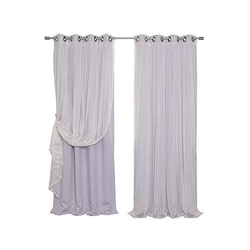 Rare Antique Bronze - Best Home Fashion Mix & Match Tulle Sheer Lace & Blackout Curtain Set - Antique Bronze Grommet Top - Lilac - 52