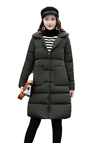 Parka Winter Thick Jacket Bigood Down Coat Hooded Women's Green Army Pocket Long With qwRRc58C
