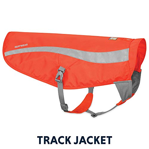 RUFFWEAR - Track Jacket High Visibility Reflective Safety Jacket for Dogs, Blaze Orange, Large/X-Large (2018)
