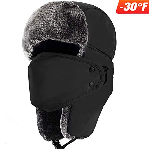 Mysuntown Unisex Winter Trooper Hat Hunting Hat Ushanka Ear Flap Chin Strap and Windproof Mask (Black) ()