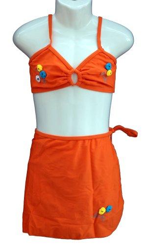 Rosa, süßes 3tlg. Bikini Set mit Strandrock, in orange, Größe 128/134, Y503e