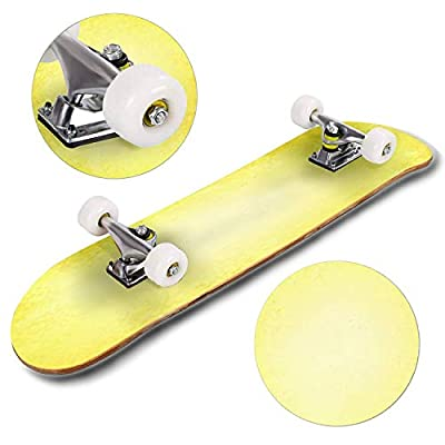 Classic Concave Skateboard Abstract Yellow Background Color, Aged Vintage Grunge Background Longboard Maple Deck Extreme Sports and Outdoors Double Kick Trick for Beginners and Professionals : Sports & Outdoors
